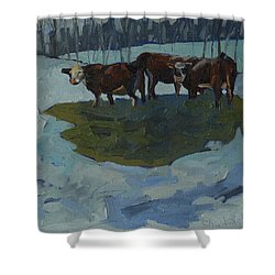 Outstanding In Their Field Shower Curtain by Phil Chadwick