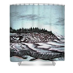 Shower Curtain featuring the drawing Oven's Park Nova Scotia by Janice Rae Pariza