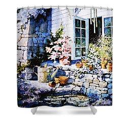 Over Sleepy Garden Walls Shower Curtain by Hanne Lore Koehler