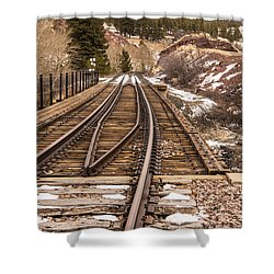 Over The Bridge Around The Bend Shower Curtain by Sue Smith