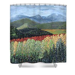Over The Hills And Through The Woods Shower Curtain by Suzanne Theis