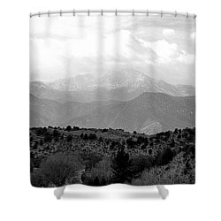 Over The Hills To Pikes Peak Shower Curtain by Clarice  Lakota