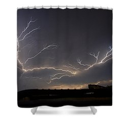 Shower Curtain featuring the photograph Over The Lake by Charlotte Schafer