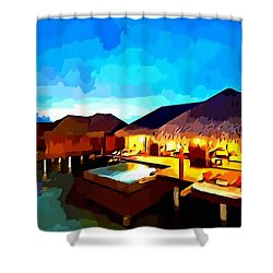 Over Water Bungalows Shower Curtain