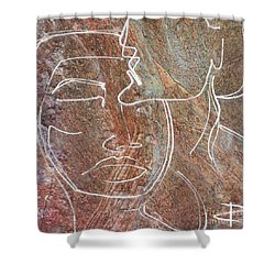Shower Curtain featuring the drawing Overlaps II by Paul Davenport