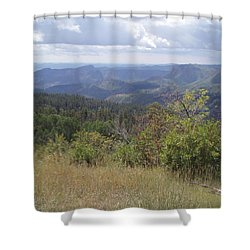 Shower Curtain featuring the photograph Overlook Into The Mist by Fortunate Findings Shirley Dickerson