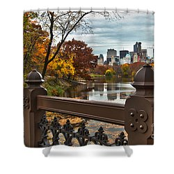 Overlooking The Lake Central Park New York City Shower Curtain