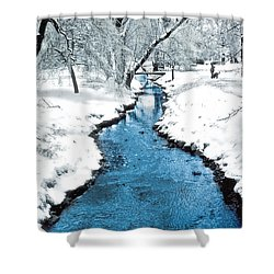Overnight Snow In Edgemont Park Shower Curtain by Kellice Swaggerty
