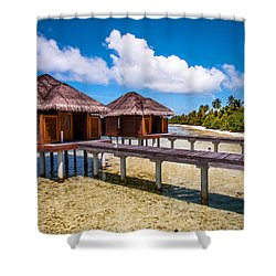 Overwater Spa Villas. Maldives Shower Curtain by Jenny Rainbow