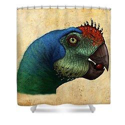 Oviraptor Head Detail Shower Curtain by Alvaro Rozalen
