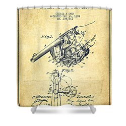 Owen Revolver Patent Drawing From 1899- Vintage Shower Curtain by Aged Pixel