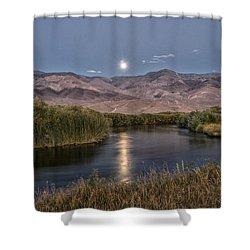 Owens River Moonrise Shower Curtain