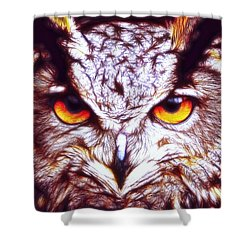 Shower Curtain featuring the digital art Owl - Fractal by Lilia D