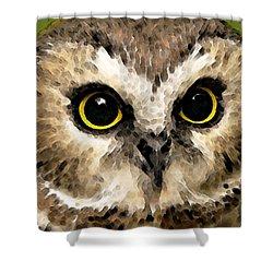 Owl Art - Night Vision Shower Curtain by Sharon Cummings