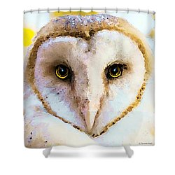 Owl Art - Soft Love Shower Curtain by Sharon Cummings