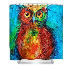 Shower Curtain featuring the painting Owl In The Night by Faruk Koksal