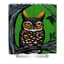 Owl In Tree With Green Background Shower Curtain by Genevieve Esson
