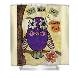 Owl Love Story - Whimsical Collage Shower Curtain