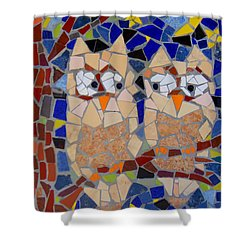 Owl Mosaic Shower Curtain by Lou Ann Bagnall