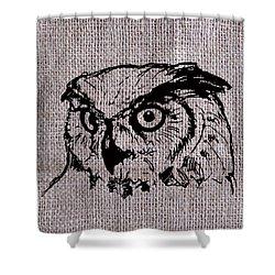 Owl On Burlap Shower Curtain