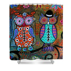 Owl Wedding Dia De Los Muertos Shower Curtain