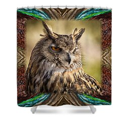 Owl With Collage Border Shower Curtain