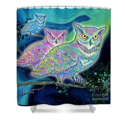 Shower Curtain featuring the painting Owls At Midnight  Square by Teresa Ascone