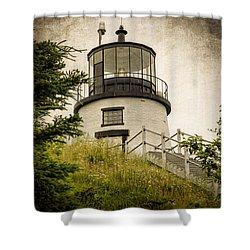 Owls Head Lighthouse Shower Curtain by Joan Carroll