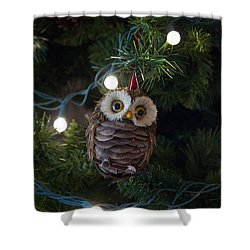 Owly Christmas Shower Curtain