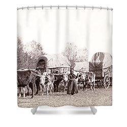 Ox-driven Wagon Freight Train C. 1887 Shower Curtain by Daniel Hagerman