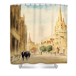 Shower Curtain featuring the painting Oxford High Street by Bill Holkham
