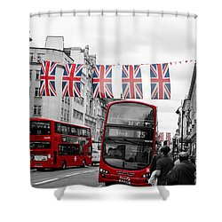 Shower Curtain featuring the photograph Oxford Street Flags by Matt Malloy