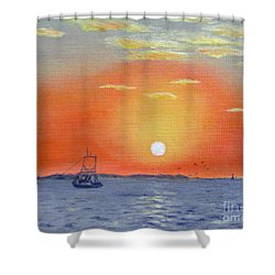 Shower Curtain featuring the painting Oyster Boat Sunrise by Jimmie Bartlett