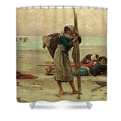 Oyster Catching Shower Curtain by Pierre Celestin Billet