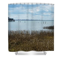 Oyster Shack And Tall Grass Shower Curtain