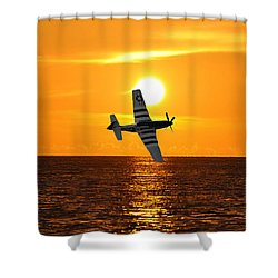P-51 Sunset Shower Curtain by John Black
