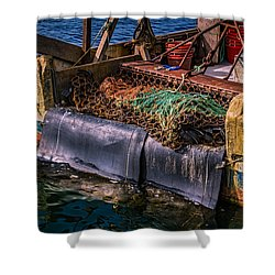 P-towns Fishing Troller  Shower Curtain by Susan Candelario