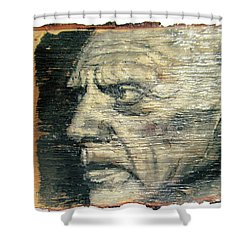 Pablo Picasso Face Portrait - Painting On The Wood Shower Curtain by Nenad Cerovic