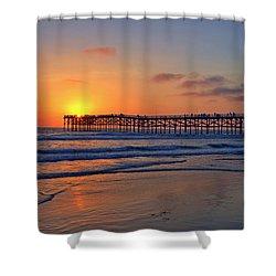 Pacific Beach Pier Sunset Shower Curtain