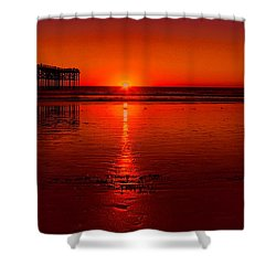 Pacific Beach Sunset Shower Curtain by Tammy Espino