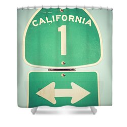 Pacific Coast Highway Sign California State Route 1  Shower Curtain