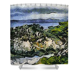 Pacific Ocean Abstract Seascape Shower Curtain by Barbara Snyder