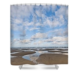 Pacific Ocean Beach At Low Tide Shower Curtain