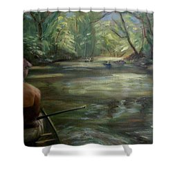 Shower Curtain featuring the painting Paddle Break by Donna Tuten
