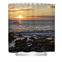 Paddlers At Sunset Horizontal Shower Curtain by Denise Bird