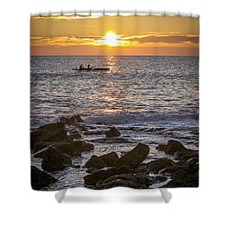 Paddlers At Sunset Portrait Shower Curtain