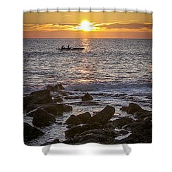Paddlers At Sunset Portrait Shower Curtain by Denise Bird