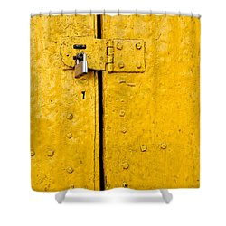 Padlock On An Old Yellow Door Shower Curtain