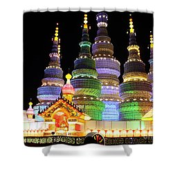 Pagoda Lantern Made With Porcelain Tableware Shower Curtain