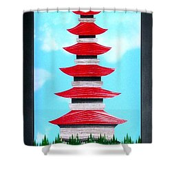 Shower Curtain featuring the mixed media Pagoda by Ron Davidson